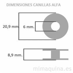 Dimensiones de las canillas Alfa en plastico