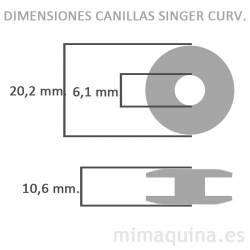 Dimensiones de las canillas Singer curvada
